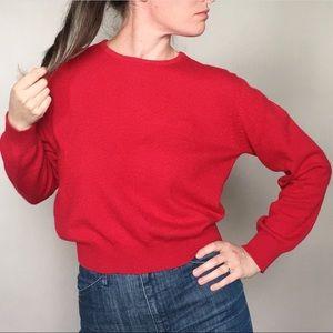 Vintage Sweaters - Vintage 80s Liz Claiborne Red Cashmere Sweater